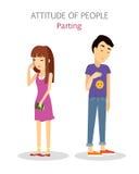 Houding van mensen scheiding Paarspleet omhoog royalty-vrije illustratie