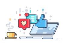 Houdt van en geeft op sociaal netwerk commentaar royalty-vrije illustratie