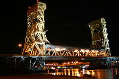 Houghton-Hancock Brücke nachts Lizenzfreie Stockfotos