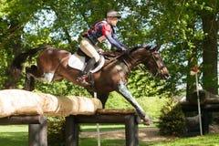 Houghton international horse trials Wayne Garrick riding Uptown. HOUGHTON, NORFOLK/ENGLAND - May 25th 2017: Houghton International Horse Trials 2017 Wayne Royalty Free Stock Photos