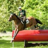 Houghton internationella hästförsök Aoife Clark som rider Colorfast Royaltyfri Bild