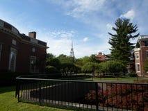 Houghton Library and Loeb House, Harvard Yard, Harvard University, Cambridge, Massachusetts, USA. Houghton Library left and Loeb House right inside Harvard Yard Stock Images