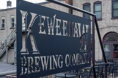 Houghton, MI/USA - 10-06-2018: Keweenaw Brewing Company outdoor patio stock photography