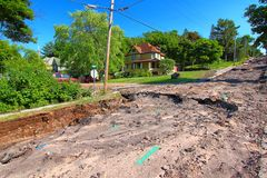 Houghton Michigan Flash Flood Damage stockfotos