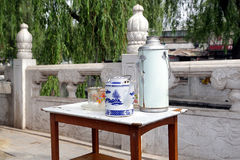 houhai Beijing pobocza herbaciany stół Zdjęcia Stock