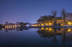 Beijing Houhai night. Houhai is a famous tourist attraction in Beijing. On this night, the water is calm like a mirror, and the lights are bright. It is very stock images