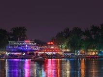 Houhai Lake area at night, Beijing, China stock images