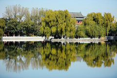 Houhai lake, Beijing. Houhai is a lake and its surrounding district in central Beijing, one of the three bodies of water composing the Shichahai. In recent years Stock Photos