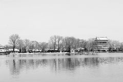 Houhai lake after snow. Houhai Beijing after snow in early 2013. Houhai lake is surrounded by many restaurants, bars and souvenir/apparel stores. While walking royalty free stock photography