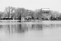 Houhai lake after snow Royalty Free Stock Images