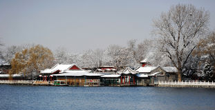 Houhai lake after snow royalty free stock photos