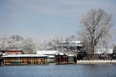 Houhai lake after snow stock photos
