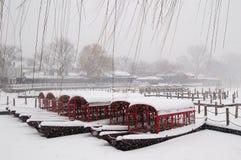 Houhai See nach Schnee Stockfotos