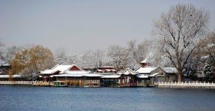 Houhai sjö efter snö royaltyfria foton