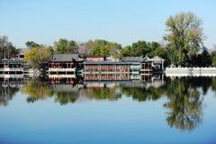 Houhai sjö, Peking Fotografering för Bildbyråer