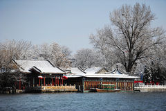 Houhai after snow. Houhai Beijing after snow in early 2013. Houhai lake is surrounded by many restaurants, bars and souvenir/apparel stores. While walking around stock photography