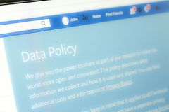 Houilles, France - April 10, 2018:Closeup of the word Data Policy on the Facebook website. Houilles, France - April 10, 2018:Closeup of the word Data Policy of Royalty Free Stock Images