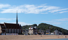 Houlgate beach in Normandy royalty free stock image