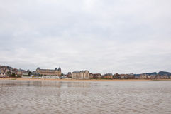 Houlgatezeekust tijdens de winter Normandiegebied, Frankrijk Royalty-vrije Stock Afbeeldingen