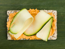 Houmous with Courgette on Rye Crispbread Royalty Free Stock Photography
