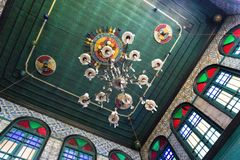 Hanging lamps in the El Ghriba Synagogue  in Houmt Souk, Tunisia royalty free stock photos