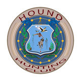 Hound hunting club badge vector illustration in flat style Stock Photo