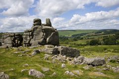 Dartmoor scenic. Hound Tor, a heavily weathered granite outcrop on Dartmoor National Park, Devon, UK royalty free stock photos