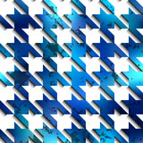 Hounds-tooth blue pattern on white background Royalty Free Stock Image