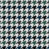 Hounds tooth vector pattern ornament. Geometric print in green and blue color on white background. Classical English background Gl. En plaid for fashion design vector illustration