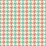 无缝的葡萄酒蓝色米黄和红色经典时尚纺织品镶边了houndstooth样式传染媒介 免版税库存图片