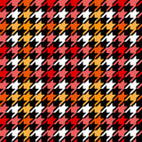 Houndstooth checkered seamless pattern in red yellow black and white, vector Stock Photos