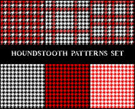 Houndstooth checkered seamless patterns set in red black and white, vector Stock Photos
