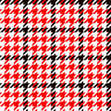 Houndstooth geometric plaid seamless pattern in black red and white, vector stock illustration