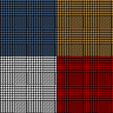 Houndstooth geometric plaid seamless pattern set, vector royalty free illustration