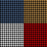 Houndstooth geometric plaid seamless pattern set, vector Royalty Free Stock Image