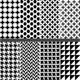 Houndstooth and Geometric seamless pattern set Royalty Free Stock Images