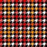 Houndstooth geruit naadloos patroon in rode gele zwart-wit, vector Stock Foto's