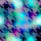 Houndstooth pattern on blue geometric background Stock Photo