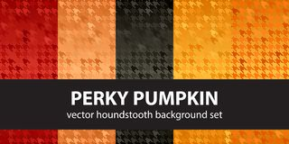 Houndstooth pattern set Perky Pumpkin. Vector seamless backgroun. Ds - red, peach, black, orange, pumpkin shapes on glowing backdrops Royalty Free Stock Image