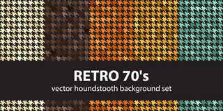 Houndstooth pattern set Retro 70`s. Vector seamless backgrounds with beige, brown, orange, yellow, green ornaments on black backdrops Stock Photo