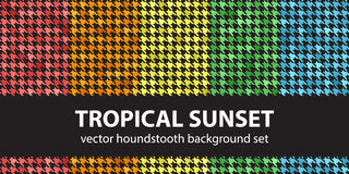 Houndstooth pattern set Tropical Sunset. Vector seamless backgrounds: red, orange, yellow, green, blue ornaments on black backdrops Royalty Free Stock Photos
