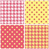 Houndstooth and polka dots seamless pastel yellow, pink and white vector pattern set Stock Photography