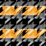 Houndstooth seamless pattern for clothes design.Trendy fabric ab. Stract print with  houndstooth  black set on colorful backdrop Geometric improvisation on a Royalty Free Stock Images