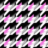 Houndstooth seamless pattern for clothes design.Trendy fabric ab. Stract print with houndstooth black set on colorful backdrop Geometric improvisation on a vector illustration