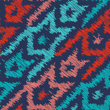 Houndstooth Seamless Pattern in Scribble Style. Rough Edges Shapes for Textile Design. Coral and Deep Blue Colors on Dark royalty free illustration