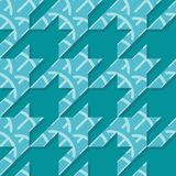 Houndstooth Seamless Vector Pattern in Turquoise Colors. Curved lines into houndstooth shapes stock illustration