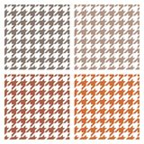 Houndstooth tile vector grey, brown and white pattern set. Royalty Free Stock Photo