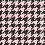 Houndstooth vector tile pastel pink and black pattern or background Royalty Free Stock Image