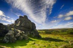 Houndtor in Dartmoor on a sunny day. Houndtor in Dartmoor, Devon, England on a sunny day in Autumn Stock Photos