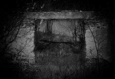 Hounted old building. Ghostly shadow over the abandoned building in deep forest, black and white high contrasted scary background royalty free stock photos